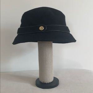 Coach Black Wool Bucket Hat with Leather Trim New